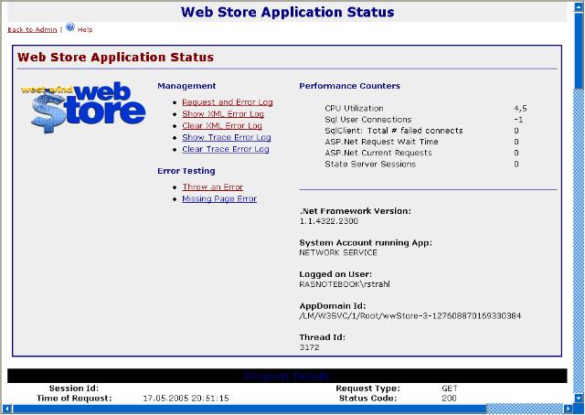 Application Status display form