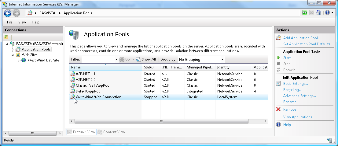503 Service Unavailable in IIS 7 - watch those Application