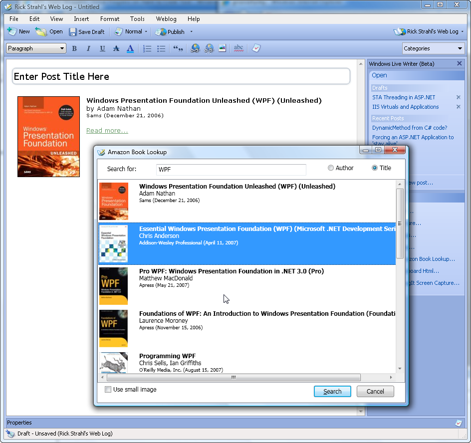 WPF Experiments: Changing a Live Writer Plug-in to use WPF