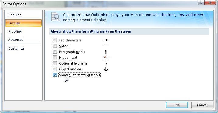getting rid of formatting marks in outlook 2007 rick strahl s web log