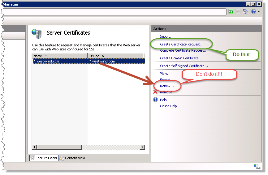 Iis ssl certificate renewal pain rick strahls web log both of these options create a new certificate request csr which is just a text file but if youre silly enough like me to click on the renew button on yelopaper