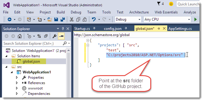 Using and Debugging External Source Code Packages in ASP NET 5
