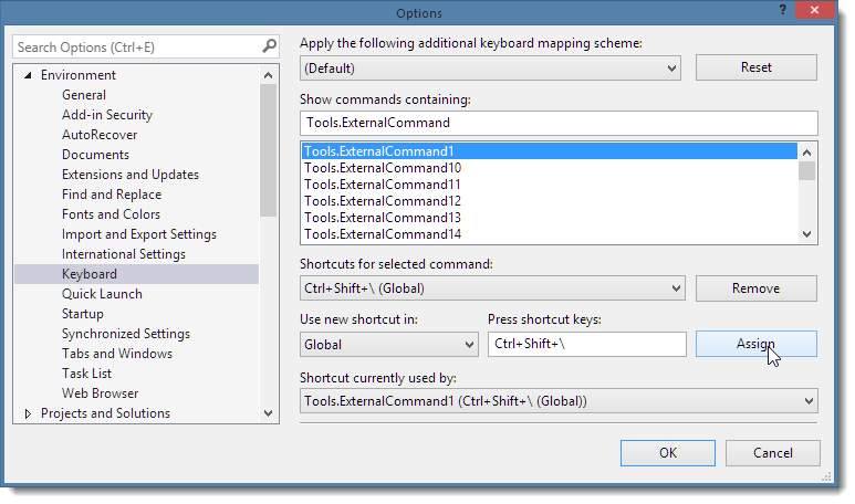 Tip: Create a Visual Studio Menu option to Open a Command