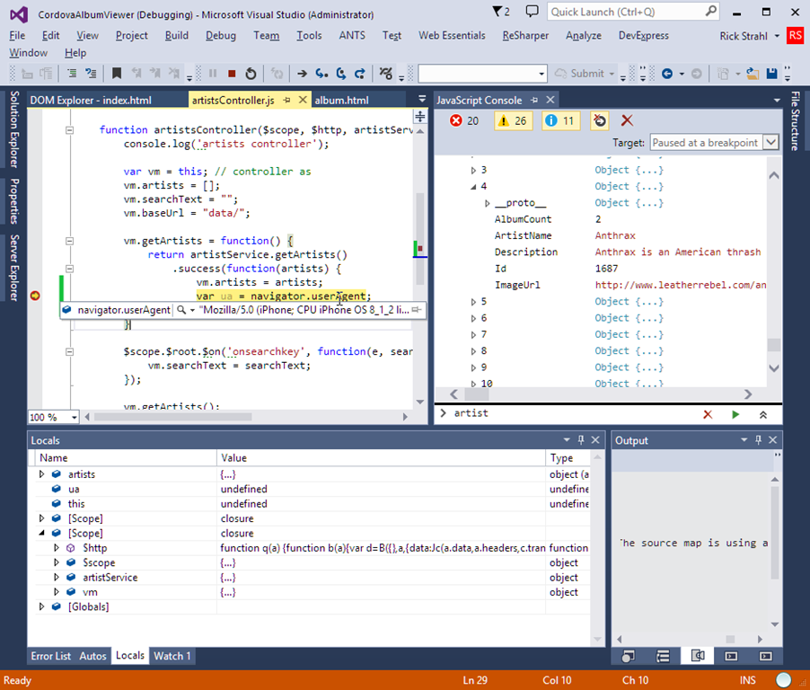 Using Cordova and Visual Studio to build iOS Mobile Apps