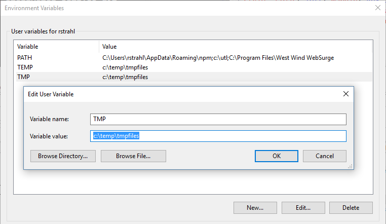 how to change path in windoes 10