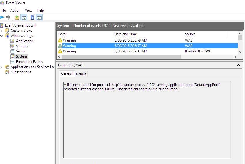 IIS Channel Listener Errors in Windows 10 Insider Build 14342 - Rick