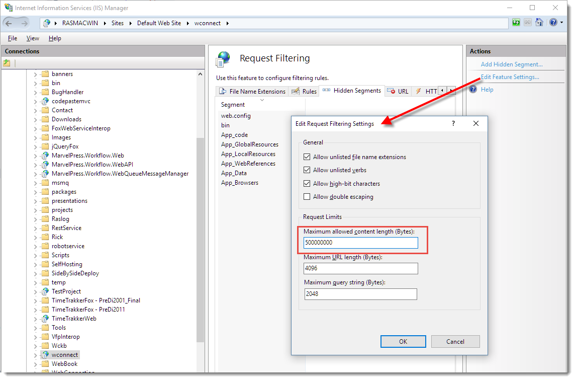 Configuring ASP NET and IIS Request Length for POST Data - Rick