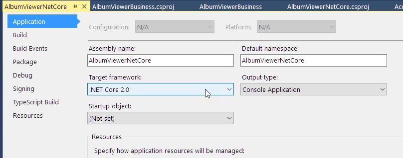 .NET Core Framework version in Web App
