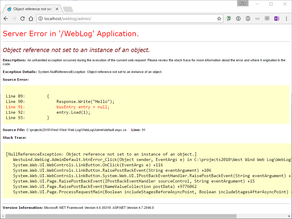 Bypassing IIS Error Messages in ASP NET - Rick Strahl's Web Log