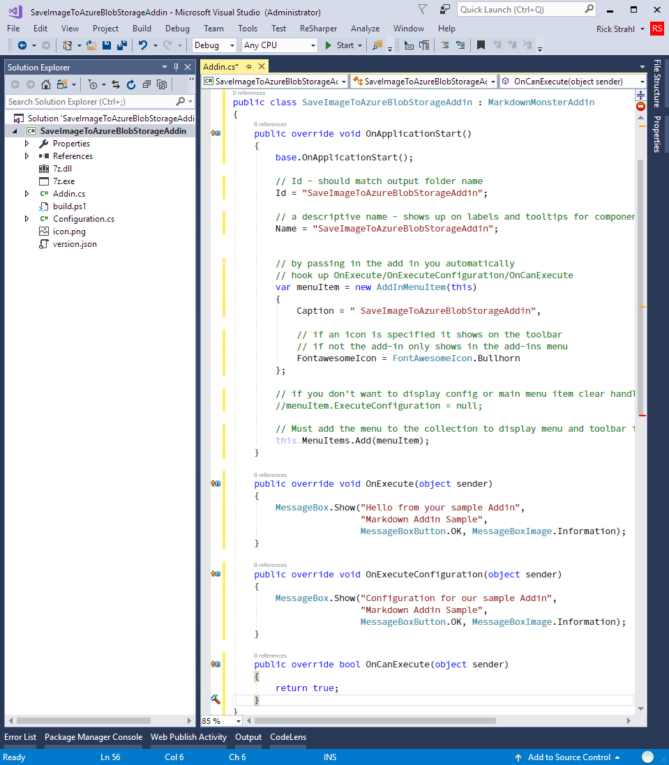 Markdown Monster addin loaded in Visual Studio