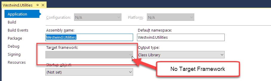 TargetFramework is missing in Visual Studio