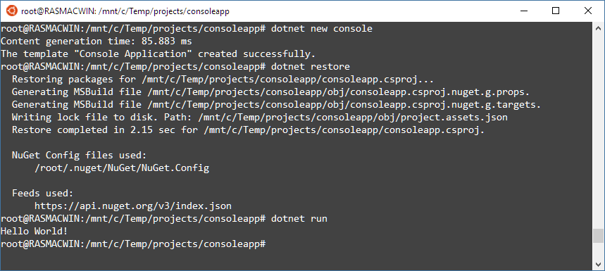 Running dotnet new from Windows Bash Shell for Linux