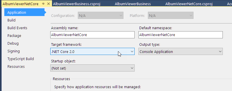 .NET Core Framework version in Web App