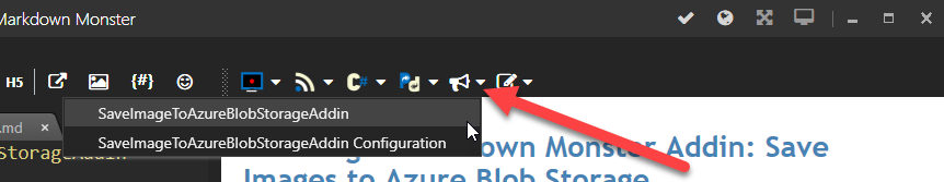 Addin on Markdown Monster Toolbar