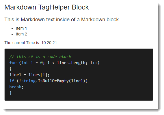 Creating an ASP NET Core Markdown TagHelper and Parser