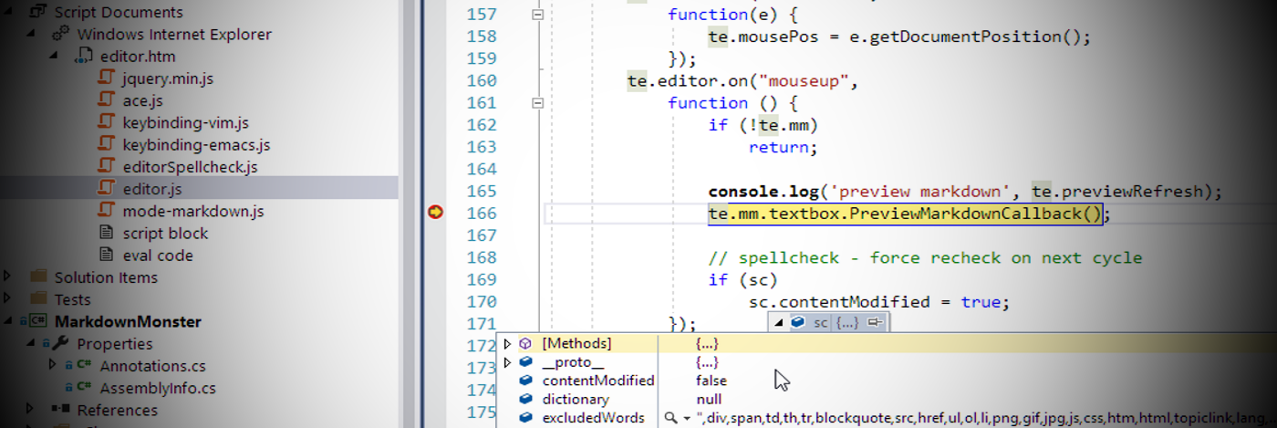 JavaScript Debugging in a Web Browser Control with Visual Studio