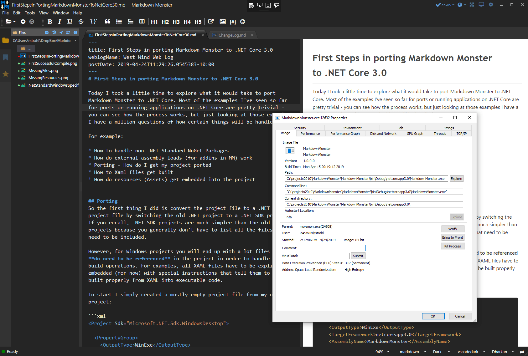 First Steps in porting Markdown Monster WPF App to  NET Core