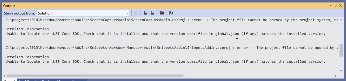 Visual Studio 2019 2 and  NET 3 0 SDK Projects not Loading